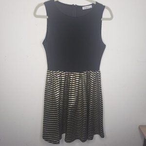 Ginger G Black and Gold Sleeveless Party Dress M